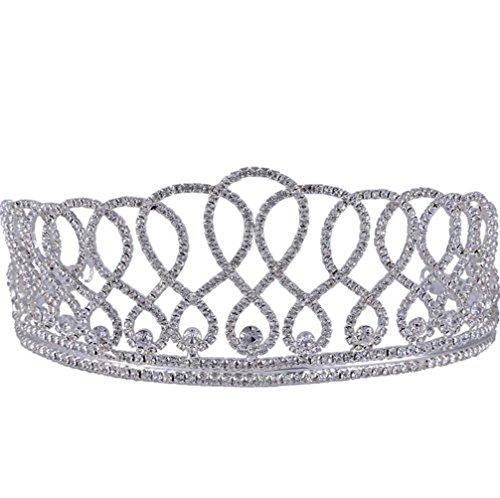 Kostüm Strass Tanz Designs - CYY Königliche Braut Hochzeit Krone Strass Tiara gehobener Schmuck große Bühne Kostüm Zubehör Silber