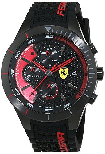 Orologio da Uomo al quarzo e cinturino in sillicone nero, Scuderia Ferrari...