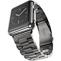 Für Apple Watch armband 42 mm,Evershop Edelstahl Uhrenarmband apple watch bands Handgelenk Band Ersatz Metall Schließe für iWatch alle Modelle(Schwarz)