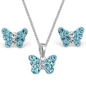 Mini Kristall Schmetterling Anhänger + Kette + Ohrstecker 925 Echt Silber Mädchen Kinder Set