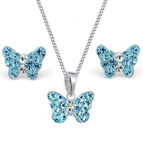 Mini Kristall Schmetterling Anhänger + 38cm Kette + Ohrstecker 925 Echt Silber Kinder Mädchen (Blau) (Schmetterling Halskette Für Mädchen)