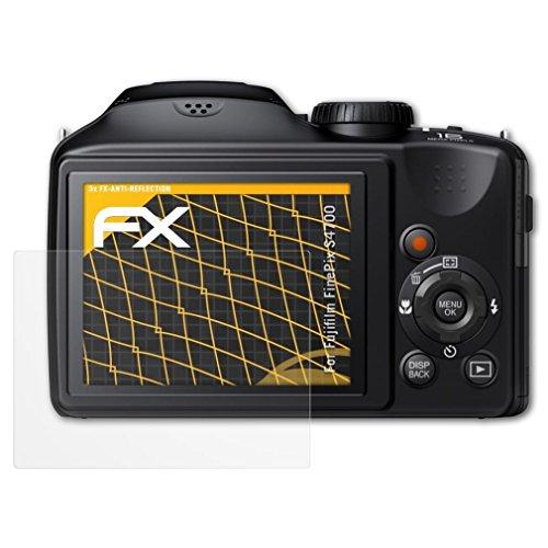 atFoliX Panzerfolie kompatibel mit Fujifilm FinePix S4700 Schutzfolie, entspiegelnde und stoßdämpfende FX Folie (3X)