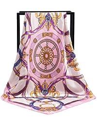 HITSAN INCORPORATION Summer Silk Scarf Women Patchwork Color Printed Scarves  Foulard Designer Square Head Scarves Shawls e84159279bd