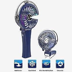 COMLIFE Ventilateur d'Atomisation Portatif,Mini Ventilateur à Piles Rechargeable,Ventilateur Pliable avec Humidificateur de Refroidissement et Veilleuse Colorée,pour Intérieur et Extérieur