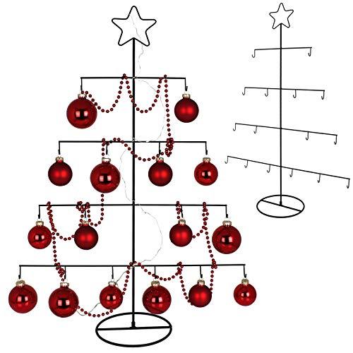 TW24 Deko Metall Weihnachtsbaum mit Stern 76cm für Zierschmuck Stern Christbaum Tannenbaum Weihnachtsdeko Metallbaum
