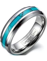 JewelryWe - Joyería del carburo de tungsteno damas sintético incrustación turquesas 6 mm banda anillo anillos de boda anillos de compromiso tamaño 51