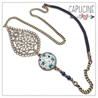 Headband avec Cabochon Verre Fleurs Bleu et Blanc, Estampe et Chaîne Bronze, Accessoire Cheveux avec Élastique