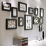 Bilderrahmen - kreative Foto Schwarz und Weiß aus Holz im europäischen Stil Wohnzimmer, Büro, Alle Schwarz