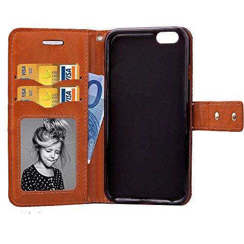 sibaina Étui pour téléphone portable Samsung Galaxy, étui à rabat en cuir PU pour Samsung Galaxy S6S6Edge Plus S7Plus, Cuir synthétique Cuir, vert, For Iphone6 6s plus Gris