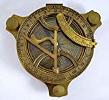Antique Sundial Compass Replica 4in - Solid Brass Pocket Sundial - West London by The New Antique Store...
