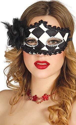 Fancy me da donna sexy nero bianco arlecchino ballo in maschera martedì grasso festival carnevale maschera costume vestito accessorio