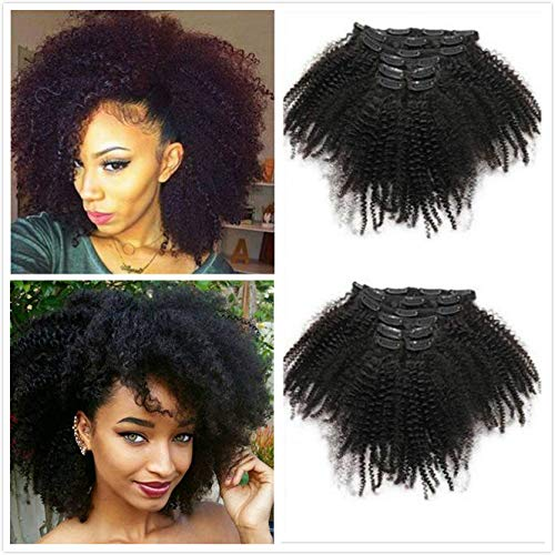30,5 - 66 cm afro kinky curly hair clip in hair extensions 4b 4 c 100% capelli umani di colore naturale nero clip ins full head brazilian virgin remy hair 8pc/set 100 g per donne nere