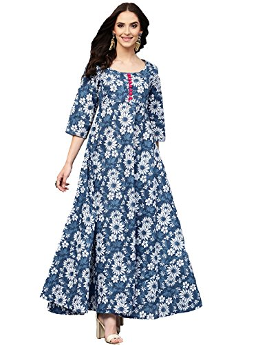 Amayra Women's Blue Floral Printed Long Length Anarkali Cotton Kurti