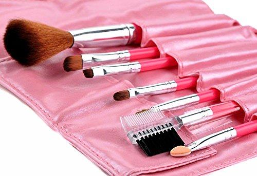 Ensemble de 7 pinceaux Set avec sacoche de rangement rose : Pinceau Blush, maquillage île, cils à crochet –, Pinceau fard à paupières, crayon à lèvres, éponge applicateur etc
