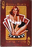 DL-Regina di Cuori Cartello in metallo vintage Home Decor pin up poster garage wall arte asta di ratto adesivi