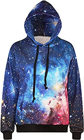 Bettydom Damen Sweatshirt Tops & Shirts Galaxy Stern Pullover bunt Hoodie Long Sleeve Kapuzen Sweater (Large/X-Large, 3 Blau-Rot)