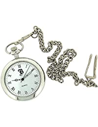 BOXX Silver Open Roman Pocket Watch 12 Chain M5095