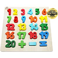 Wooden-Toddler-Puzzles-Toys For 2-3 Year Olds Kids With Big Bright Color-Numbers 1-20; Think Calculate Girl Boy Learning Resources; Educational Name, Shape Puzzle Preschool Learning Toys For Toddlers