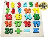 EasY Kid's ToY Holzpuzzle mit Grossen Bunte Zahlen 1-20, Bestes Holzspielzeug für Spielerisches Lernen von Zahlen Motorikspielzeug ab 2 Jahre Rahmenpuzzle Geschenk für Kinder, Kinderpuzzle für Spiel Spass Freude