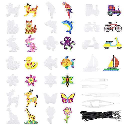 Homgaty Bügelperlen Platten, 18 Stück Bügelperlen Stiftplatte mit 4 Stück Pinzette, 18 Stück Kleine Hängendes Seil, Steckplatten Set für DIY-Prozess Manuelle Erstellung, Verschieden Muster