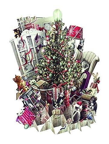 Papier d 'Art Weihnachten Cards–Christmas Kittens–3D Pop-Up-Karte
