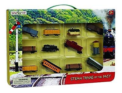 """Geschenkbox mit zwölf verschiedenen Miniatur-Modellen von Dampfzügen """"STEAM TRAINS of the past"""" von Safari"""