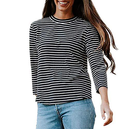Vototrade ✠ sexy split shirt, moda casual da donna a maniche lunghe con stampa o-collo dietro un bottone irregolare t-shirt top
