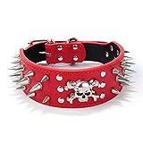 Fully Hundehalsband Halsband Nieten Totenkopf PU Leder Halskette Kragen Punk Blogger Verstellbar Welpen Labrador Huskie (S, Rot)