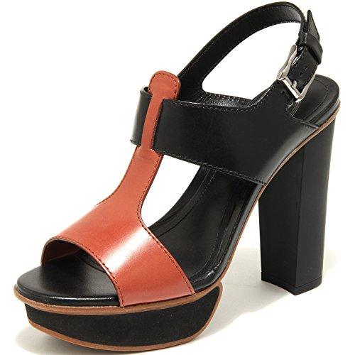 55464 sandalo TOD'S SAND. PLATEAU C. RFT FASCE scarpa donna shoes women Nero/Bordeaux