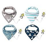 4er Baby Dreieckstuch Lätzchen Spucktuch Halstücher mit Schnullerkette und Verstellbaren Druckknöpfen Multifunctional, Super Absorbent & Soft Baumwoll, von Future Founder