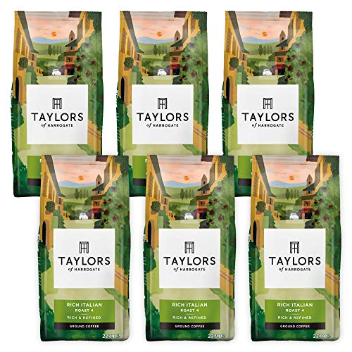 Taylors Of Harrogate Rich Italian Ground Coffee 227 g (Pack of 6)