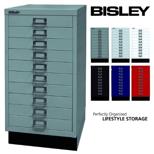 Bisley Schubladenschrank 29 aus Metall | Schrank mit 10 Schubladen und Sockel | Büroschrank DIN A3 | Werkzeugschrank | Metallschrank in 6 Farben (Silber)