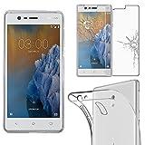 ebestStar - pour Nokia Nokia 3 - Housse Coque Silicone Gel Souple ULTRA FINE INVISIBLE + Film protection écran en VERRE Trempé, Couleur Transparent [Dimensions PRECISES de votre appareil : 143.4 x 71.4 x 8.5 mm, écran 5''] [Note Importante Lire Description]