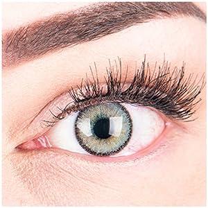 """Sehr stark deckende und natürliche graue Kontaktlinsen SILIKON COMFORT NEUHEIT farbig """"Mirel Grey"""" + Behälter von GLAMLENS – 1 Paar (2 Stück) – DIA 14.00 – mit und ohne Stärke"""