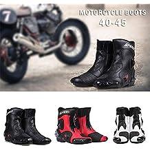 iBaste-ES Botas de Motos de Cuero Botas de Carreras Botas de Montar de Motos
