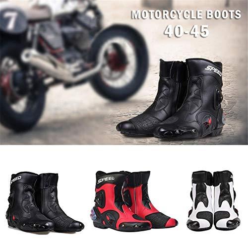 iBaste-ES Botas de Motos de Cuero Botas de Carreras Botas de Montar de Motos Hombres Motocross Botas de Motos Todoterreno Zapatos Moto Deportivos Zapatillas de Carreras Antideslizantes