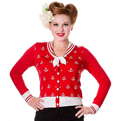 Banned Retro Sailor Cardigan Anchors Away - Damen Vintage Matrosen Strickjacke Anker (L, Rot)