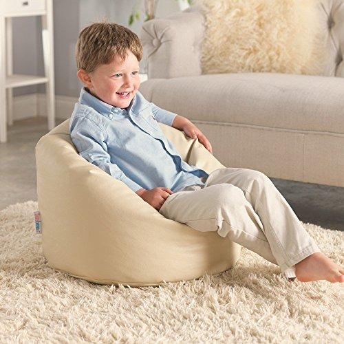 Meine Erster Sitzsack – Kunstleder Kindersitzsack - Sitzsack für Kleinkinder (Sahne)