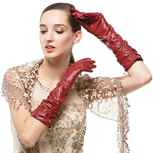 Nappaglo Damen Winter Lange Leder Handschuhe aus echtem Nappaleder Touchscreen Party Fausthandschuhe (XL (Umfang der Handfläche:20.3-21.6cm), Winerot(Non-Touchscreen))