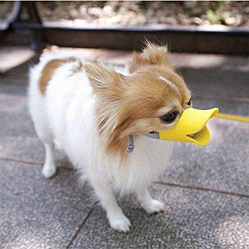 FOONEE Justierbarer Silikon-Mundschutz Für Haustiere Duck Mouth Pet-Maulkorb Für Hunde Sichere Und Ungiftige Silikon-Mundmaske Verhindern, DASS Haustiere Schreien Beißen Essen S, M, L Gelb
