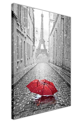 24 Zeitgenössische Leinwand (Wandbild / Kunstdruck auf Leinwand, Fotomotiv: Pariser Eiffelturm und roter Regenschirm, dekoratives Design, Schwarz / Weiß, canvas holz, schwarz / rot / weiß, 05- A1 - 34