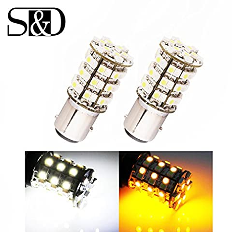 S&D 2 X Bay15d 1157 Switchback Auto car Led Bulbs p21/5w - For Stop / Tail / Brake / Turn Sight Lights - 60 SMD 3528 White Amber