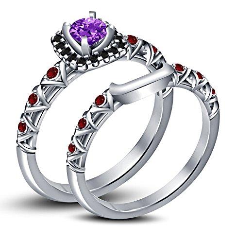 Vorra Fashion argento 925placcato platino bianco taglio rotondo Multi pietra Bridal Anello di fidanzamento set, Argento, 24,5, colore: White, cod. NEW1671_21
