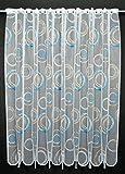 Scheibengardine Kringel 180 cm Hoch | Breite der Gardine durch gekaufte Menge in 11 cm Schritten wählbar (Anfertigung Nach Maß) | weiß mit Blau/Hellbraun | Vorhang Küche Wohnzimmer