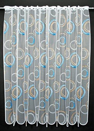 Scheibengardine Kringel 150 cm hoch | Breite der Gardine durch gekaufte Menge in 11 cm Schritten wählbar (Anfertigung nach Maß) | weiß mit blau/Hellbraun | Vorhang Küche Wohnzimmer