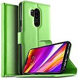 KuGi LG G7 ThinQ/LG G7 One Hülle, LG G7 ThinQ Wallet Case, Brieftasche Case Hülle PU Kunstleder Flip Case mit Standfunktion Kartenfächer und Bargeld für LG G7 ThinQ Smartphone.Grün