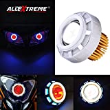 #6: AllExtreme Original Projector Lamp High Intensity Led headlight Lens projector ( High beam, Low Beam, Flasher function) Stylish Dual Ring COB LED Inside Double Angel's Eye Ring Lens Projector For - All Bikes (Blue,White and Red)