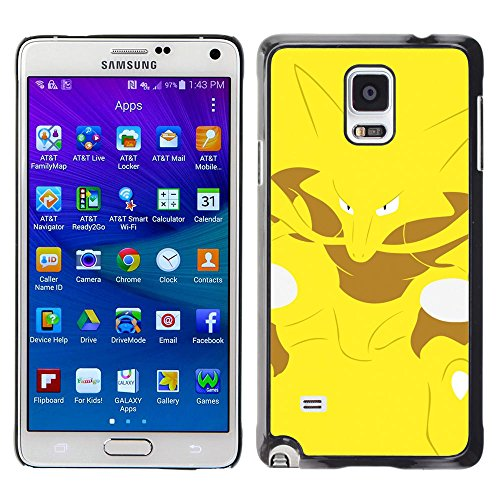SuperStar // Kühles Bild Hartschalenkoffer PC Schutzhülle Hard Case Protective Cover for Samsung Galaxy Note 4 / Yellow Poke Monster Fox /