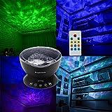 Supertech Ozeanwelle Projektor LED Nachtlicht Entspannende beruhigende Welle LED-Deckenleuchte mit Lautsprecher und Fernbedienung für Wohnzimmer Schlafzimmer Schwarz