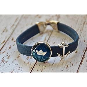 Armband aus Kork Vegan Anker Boot Schiff Glas